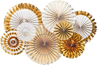 FECEDY Gold Paper Fan Flower Hanging Banner for Birthday Wedding Engagement Bridal Shower Baby Shower Bachelorette Holiday Celebration Party Decorations 8pcs/Pack