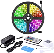 LUMINOSUM LED Strip Lights RGB Kit, 5M (16.4ft) 300LEDs SMD5050 Waterproof, with 44-Key IR Controller and DC12V 5A Power A...