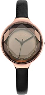 RumbaTime Women's 'Orchard Gem Leather' Quartz Stainless Steel Casual Watch, Color:Black (Model: 27532)
