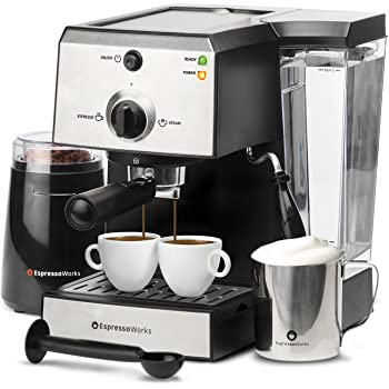 Espresso Machine & Cappuccino Maker with Milk Steamer- 7 pc All-In-One Barista Bundle Set w/ Built-In Milk Frother (Inc: Coffee Bean Grinder, Milk Frothing Cup, Spoon/Tamper & 2 Cups), Stainless Steel (Silver)