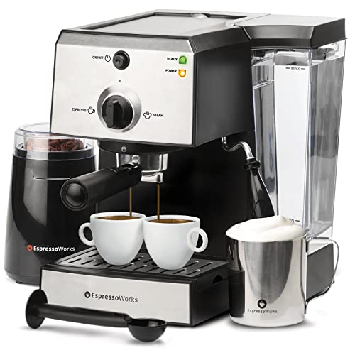 7 Pc All-In-One Espresso Machine & Cappuccino Maker Barista Bundle Set w