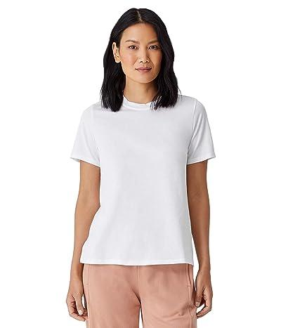 Eileen Fisher Organic Pima Cotton Jersey Mock Neck Short Sleeve Top