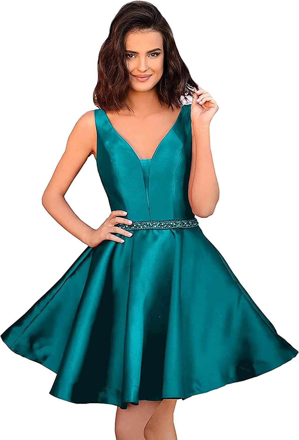 Tianzhihe Women's Satin Ball Gown Mini A line Homecoming Dresses Waist Beaded Formal Prom Cocktail Dress for Party