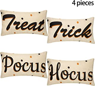 Boao 4 Pieces Halloween Throw Pillow Cases Treat Trick Hocus and Pocus Cushion Covers Cotton Linen Decoration for Halloween Decorations