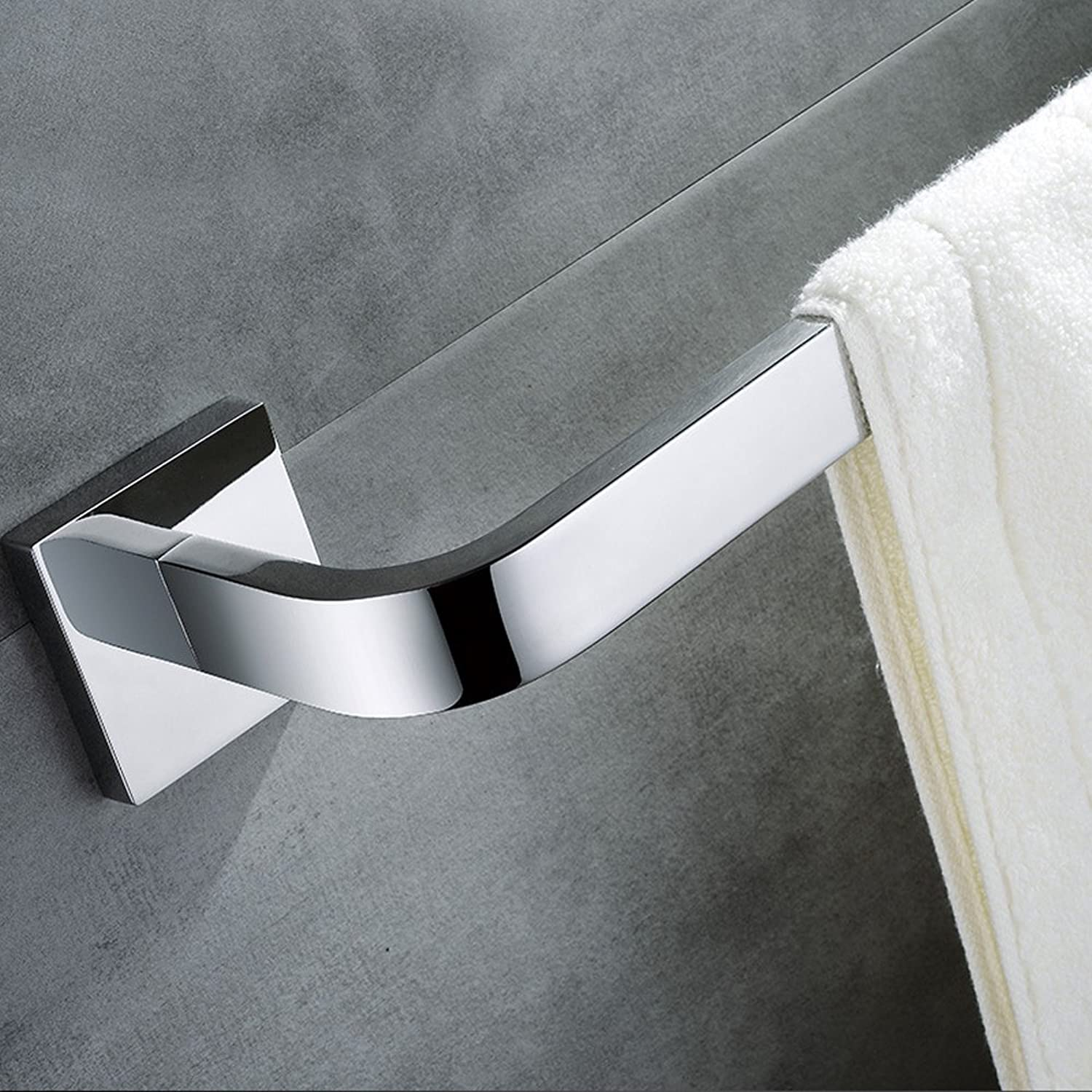 Leyden TM Wall Mounted 304 Stainless Steel Square Single Towel Bar  Towel Rail For Bathroom Chrome