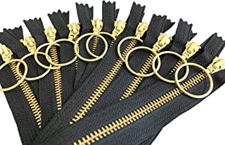 10pcs 9 inches Ykk Number 5 Golden Brass Metal Zippers Bulk with Ring Pull Closed End Zippers Color Black for Sewing Purse Bags Crafts Jackets - Made in USA