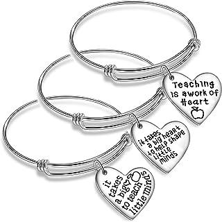 Nimteve 3PCs/Set Teacher Bangles for Women Teacher Appreciation Gifts Expandable Bangle Bracelets Thank You Gifts for Teac...