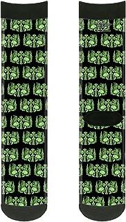 جوارب للكبار من الجنسين من باكل-داون بتصميم جماجم مع أجنحة أسود/أخضر، متعدد الألوان