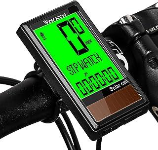 WESTGIRL Ciclocomputador con energía solar, cuentakilómetros inalámbrico impermeable con 5 idiomas, retroiluminación LCD, multifunción, accesorios para bicicleta