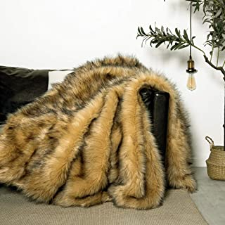 Luxury Plush Faux Fur Throw Blanket, Long Pile Golden Yellow with Black Tipped Blanket, Super Warm, Fuzzy, Elegant, Fluffy Decoration Blanket Scarf for Sofa, Armchair, Couch and Bed, 50''x 60''