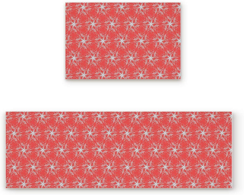 Non-Slip Indoor Door Mat Entrance Rug Rectangle Absorbent Moisture Floor Carpet for Vintage Green Jacquard with Red Background Doormat 19.7x31.5In+19.7x47.2In