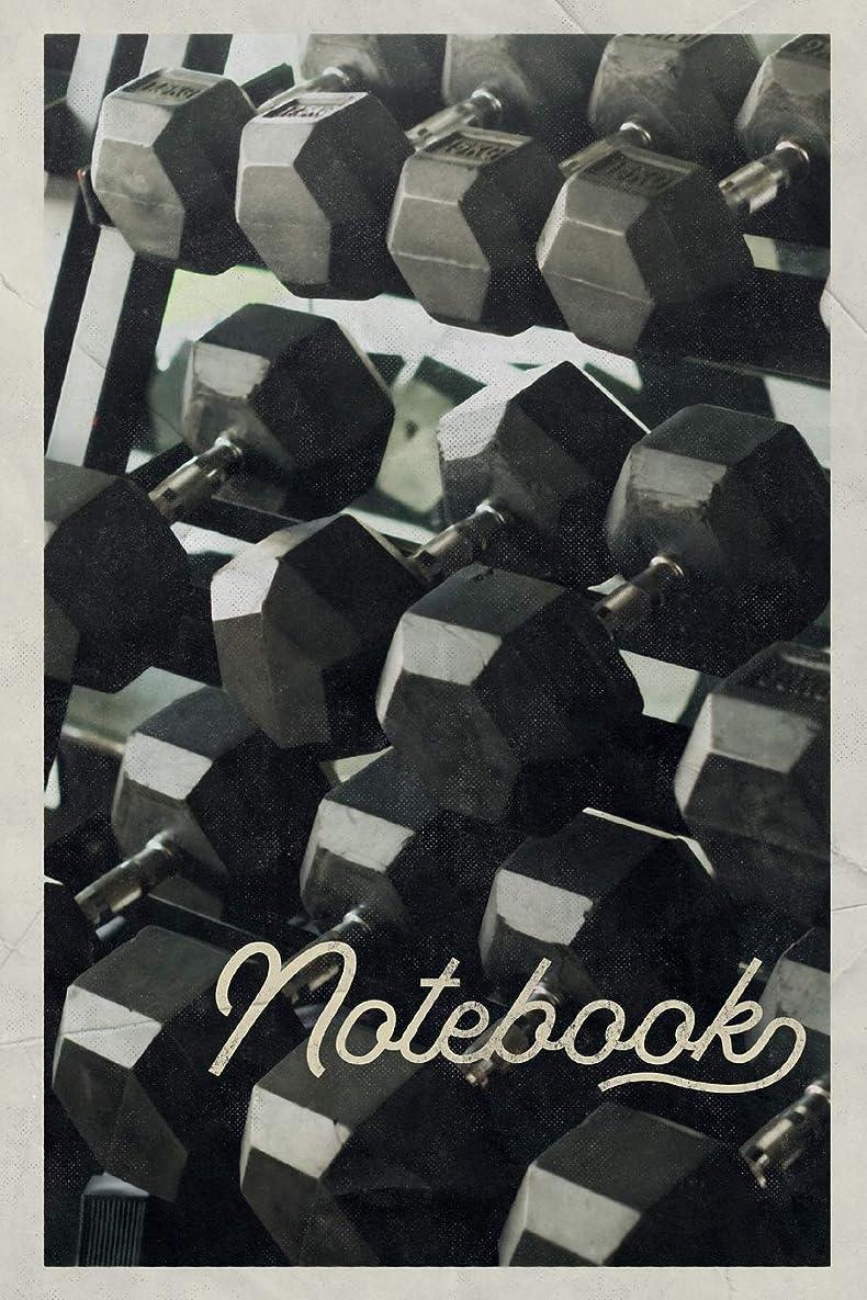 下る施しラップトップNotebook: Dumbbells Workout Cool Composition Book Journal Diary for Men, Women, Teen & Kids Vintage Retro Design for weight training at home tracking