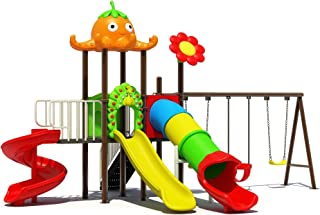 OUTDOOR PLAY SET WITH THREE PERSON SWINGS, TWO SLIDES SEPARATE , WITH ONE ROUND SLIDE