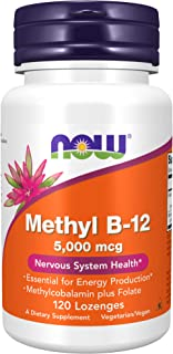 NOW Supplements, Methyl B-12 (Methylcobalamin) 5,000 mcg, Nervous System Health*, 120 Lozenges