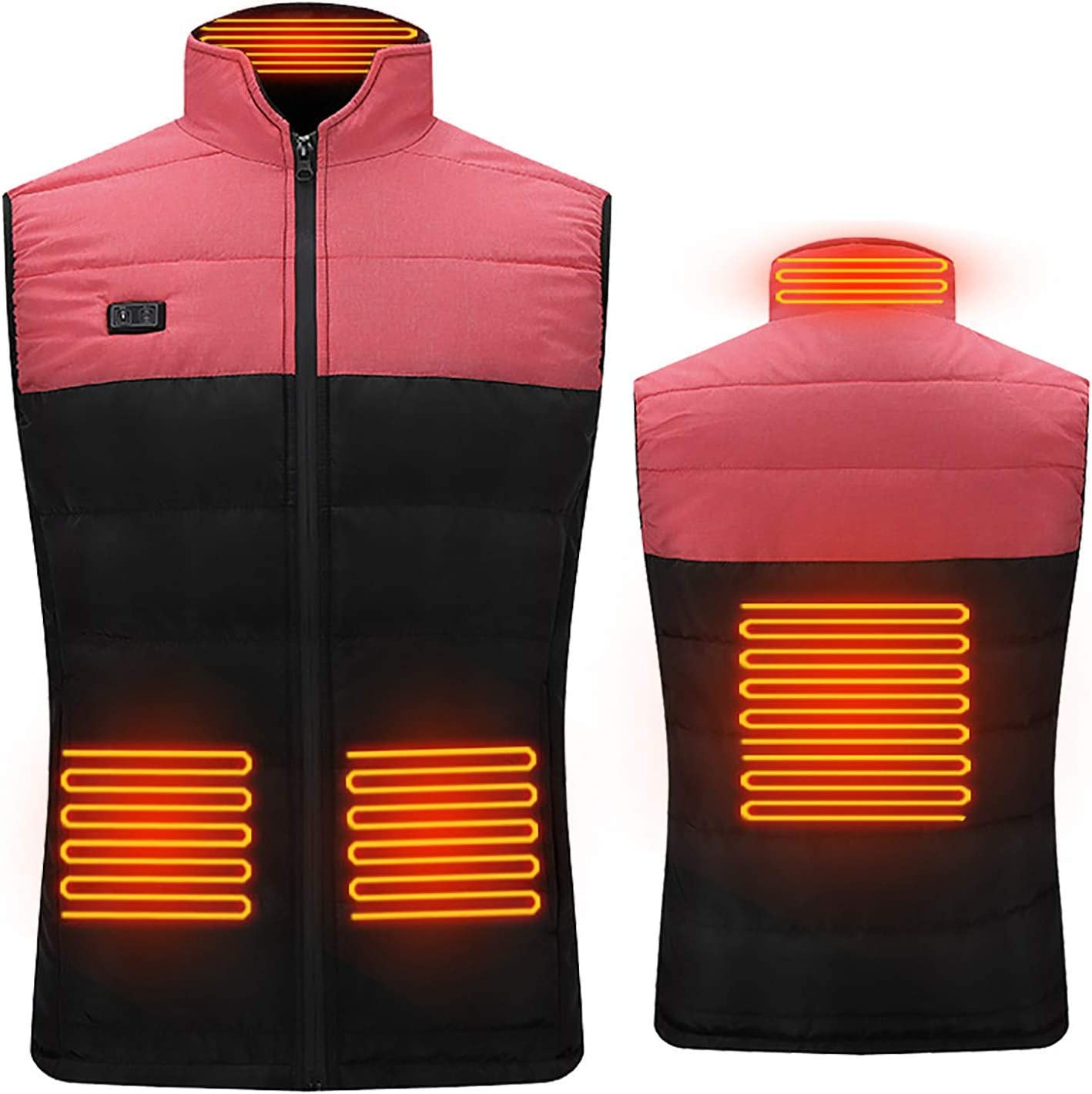 JACKET New Electric Heated Vest for Man//Woman,Double Switch Adjustable USB Heating Coat with 4 Heating Zones,3 Temperature Levels,for Hunting Outdoor Camping,Black,s