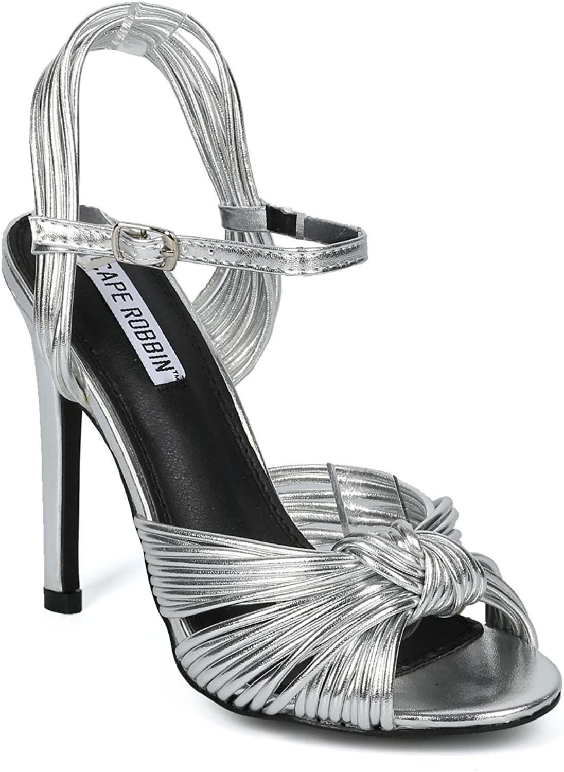 Alrisco Women Peep Toe Knotted Ankle Strap Stiletto Sandal HF50