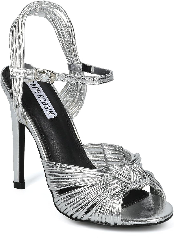 Alrisco Women Peep Toe Knotted Ankle Strap Stiletto Sandal HF50