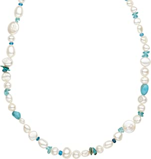 Freshwater Cultured Pearl & Turquoise Necklace in Sterling Silver