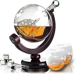 Whisiskey Whisky Karaffe - Globus - Whiskey Karaffe Set - 800 ml - Geschenke für Männer - Vatertagsgeschenke - Inkl. 4 Whisky Steine, 2 Whisky Gläser & Ausgießer