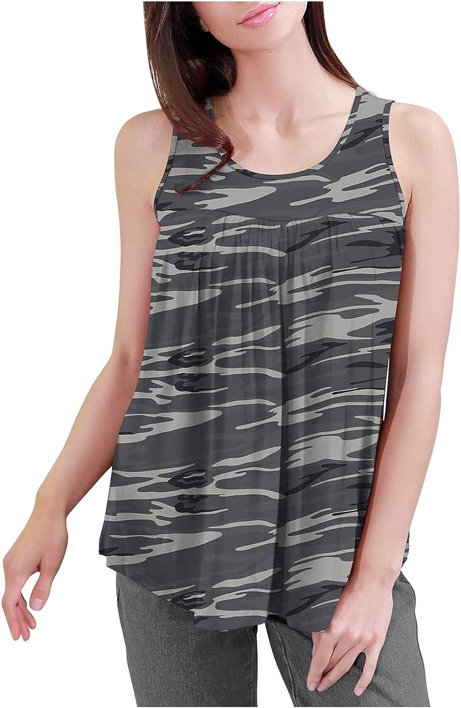 NKAA Women's Summer Sleeveless Pleated Shirt Loose and Flowy Tunic Top