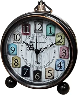 Small Clocks Analog for Desk,Silent Battery Operated Tabletop Table Decorative Clock Non Ticking 5.5 inch(Bronze)