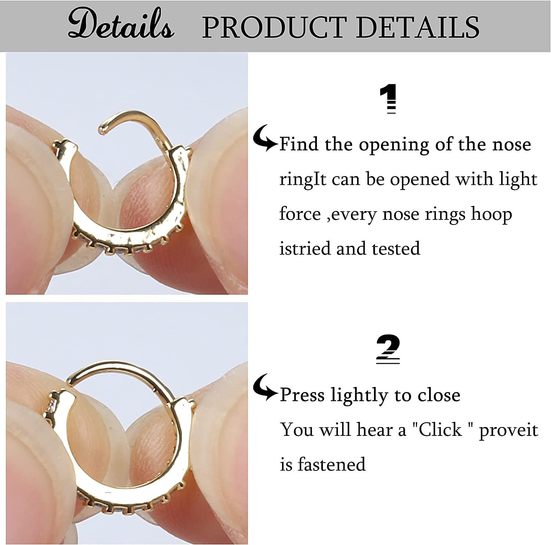 BodyBonita 9Pcs 20G Nose Rings Hoop Thin Stainless Steel Septum Rings Hoop Cartilage Earrings Daith Tragus Helix Nostril Piercing Jewelry for Women Men