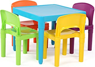 Tot Tutors Kids Plastic Table and 4 Chairs Set, Blue Vibrant