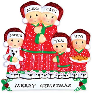 FLORIDA GLASSES Personalized Christmas Ornament Pajama Family Couple (Family of 5)