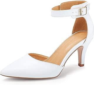 Women's Kitten Heels Ankle Strap Dress Pumps Low Heel...
