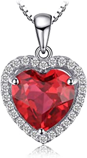 JewelryPalace Cuore Of Ocean 3.9ct Sintetico Rosso Rubino Amore Eterno Halo Pendente Collana 925 Sterling Argento 45cm