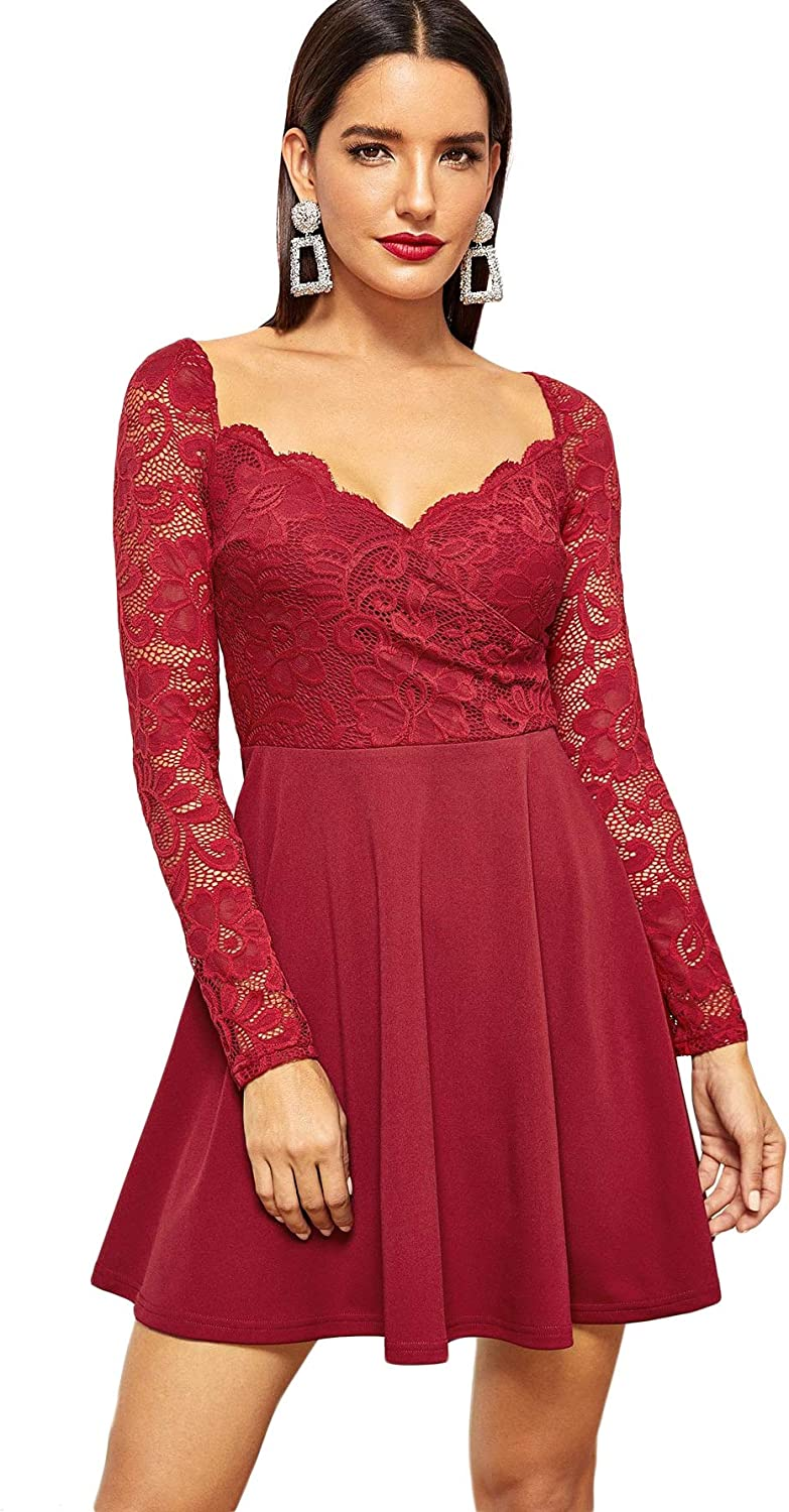 DIDK Women's Stretchy Long Sleeve Floral Lace Bodice Wrap A Line Swing Short Dress