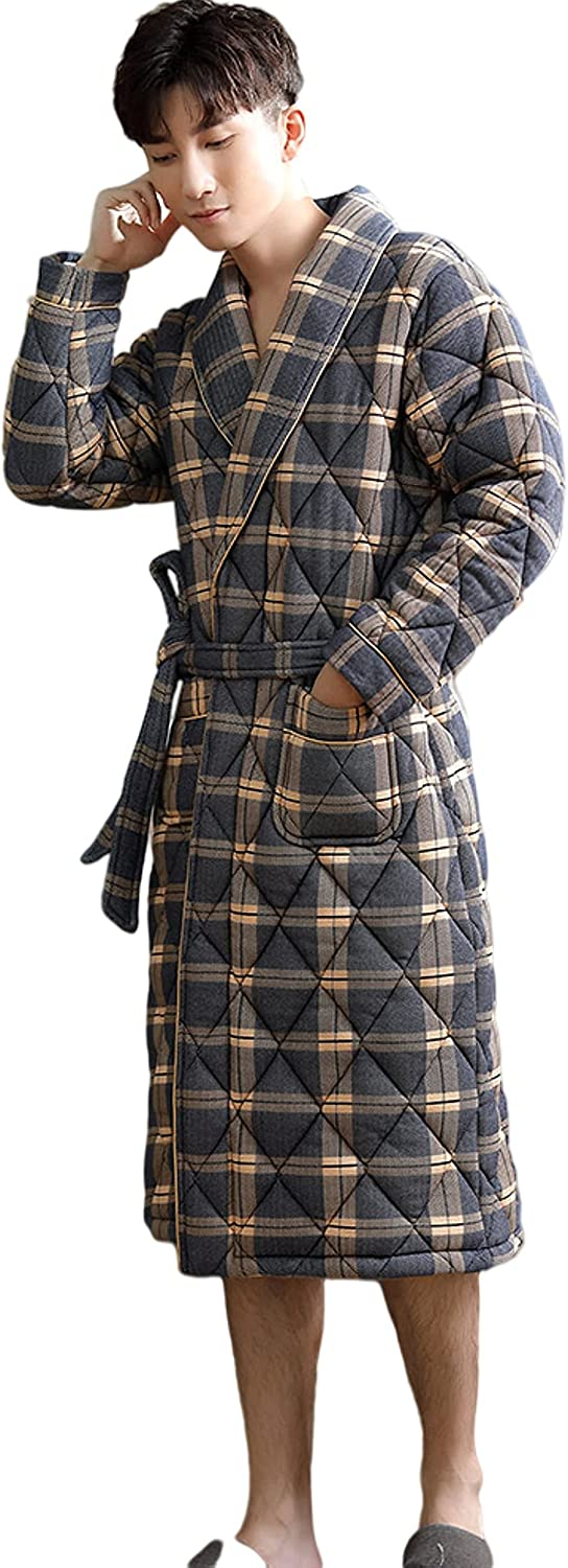 Men's thickened cotton knitted Night gown long sleeved striped bathrobe loose casual home wear