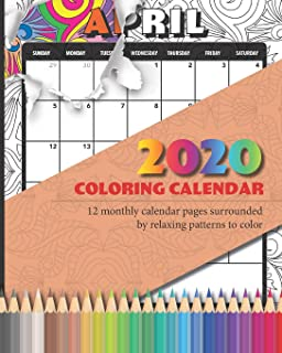 2020 Coloring calendar: 12 monthly calendar pages surrounded  by relaxing patterns to color - 8