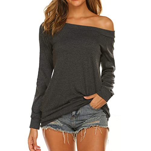 Women/'s Crop Long Sleeve T-Shirt Ladies Short Plain Round Neck Top S//M-M//L