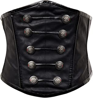 Alivila.Y Fashion Women's Faux Leather Rivet Steampunk Retro Boned Wide Corset Belt