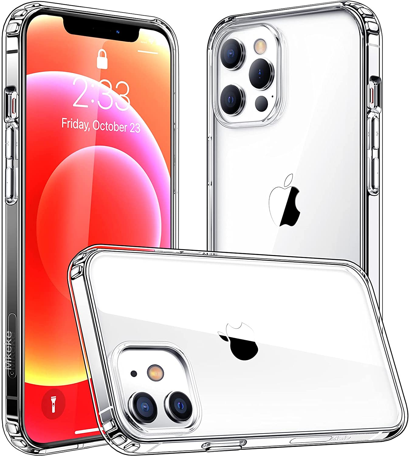 Mkeke Compatible with iPhone 12 Case, Designed for iPhone 12 Pro Case Clear Shockproof Protective Phone Cases Released in 2020