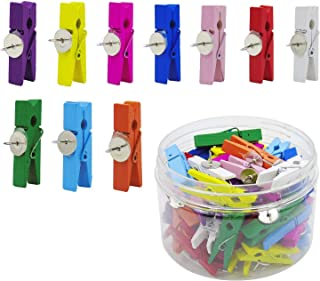 LCZX 50 Pack Push Pins with Colorful Wooden Clips Thumbtacks Pushpins Tacks for Bulletin Cork Boards Artworks Notes Photos and Craft Projects