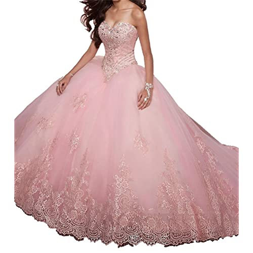 51502a843e SweetBei Women s Lace Appliques Sweet 15 Ball Gowns Tulle Quinceanera  Dresses