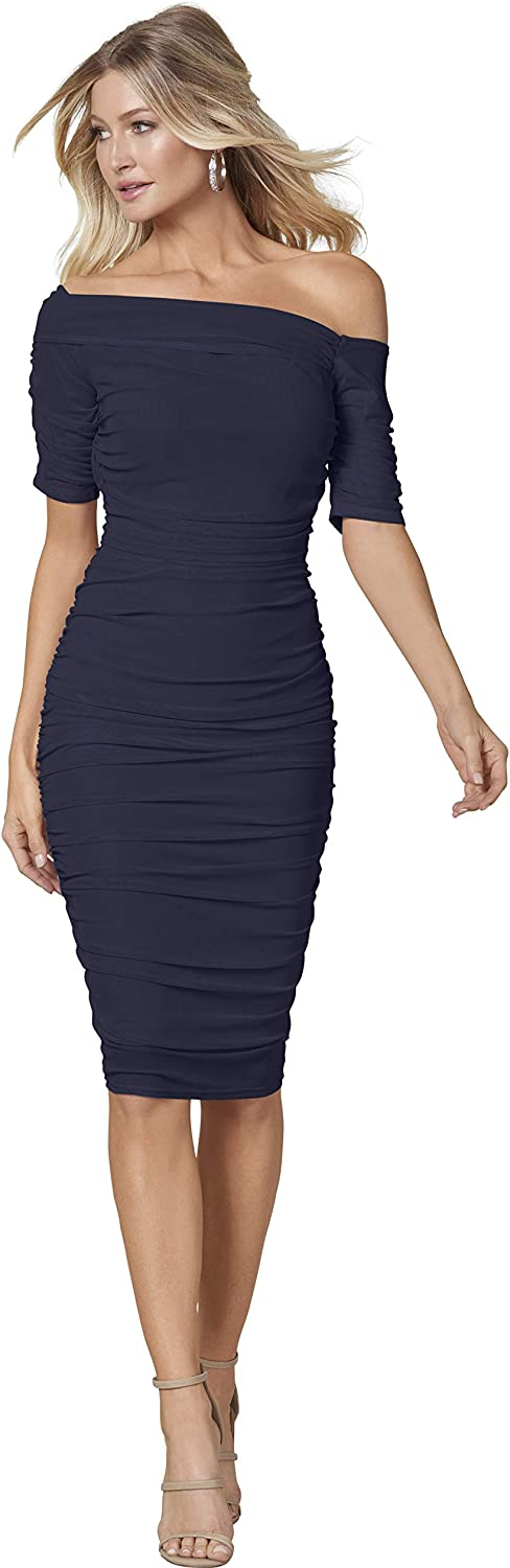 Venus Women's Ruched Mesh Bodycon Dress Asymmetrical Off The Shoulder Neckline Form-Fitting Style