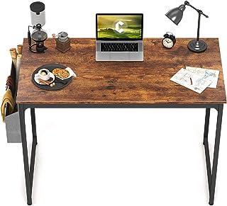 "Fayruz Study Computer Desk 40"" Home Office Writing Small Desk, Modern Simple Style PC Table, Black Metal Frame, Rustic Bro..."