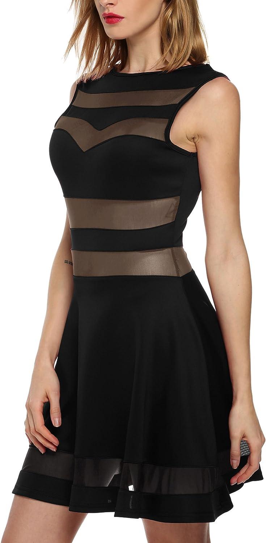 Zeagoo Sexy Mini Skater Dress Mesh See Through Party Club Little Black Dress