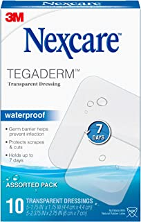 Nexcare Tegaderm Waterproof Transparent Dressing, Germproof, 2-3/8 Inches X 2-3/4 Inches, 10 Count
