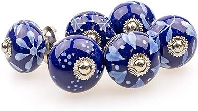 Möbelknopp möbelknopp möbelhandtag set av 6 095GN blandat blått silver – jay knapp keramik porslin handmålade vintage möbe...