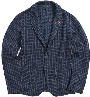 [ラルディーニ] ニットジャケット 2Bシングル ノッチドラペル メンズ 春夏 コットン 100% 総柄 ネイビー 紺 イタリア ブランド ブートニエール付き Mサイズ