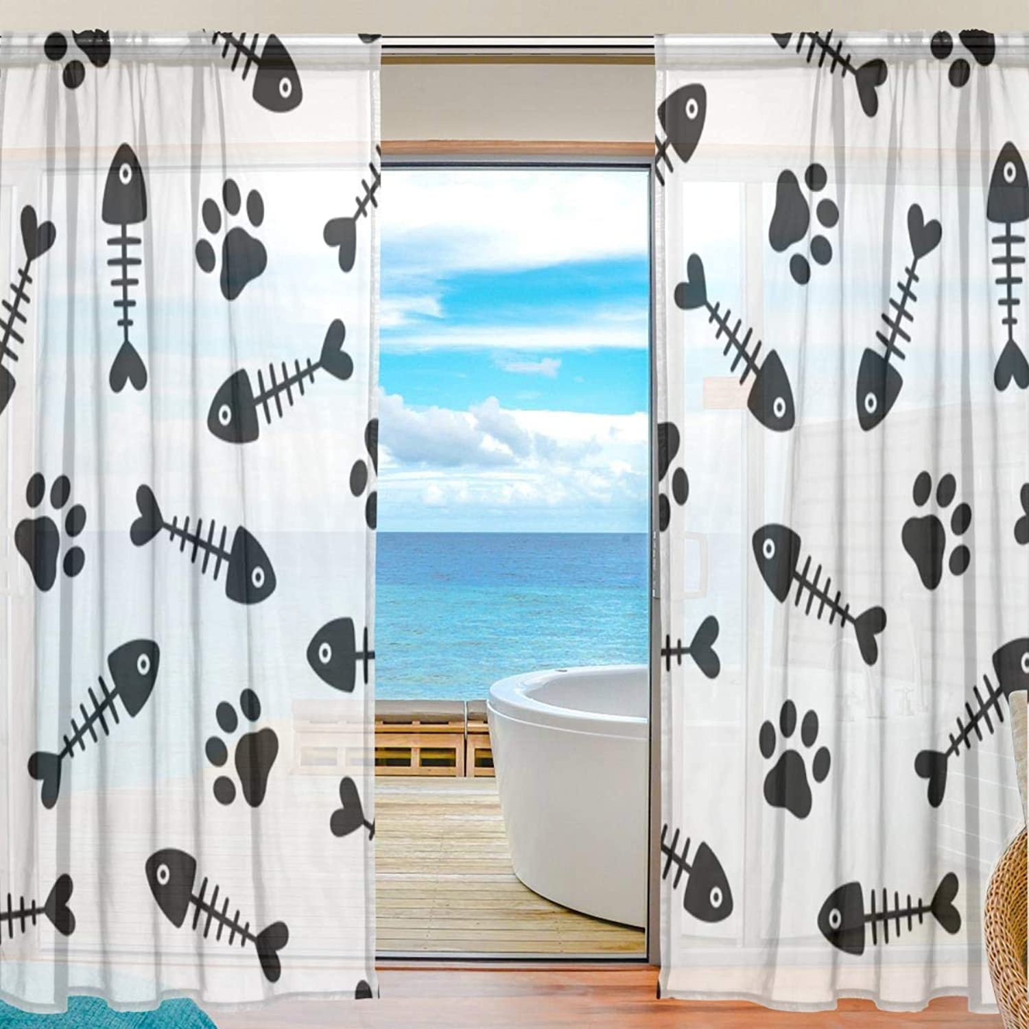 Fish Bones 2 Pieces Curtain Panel 55 x 78 inches for Bedroom Living Room