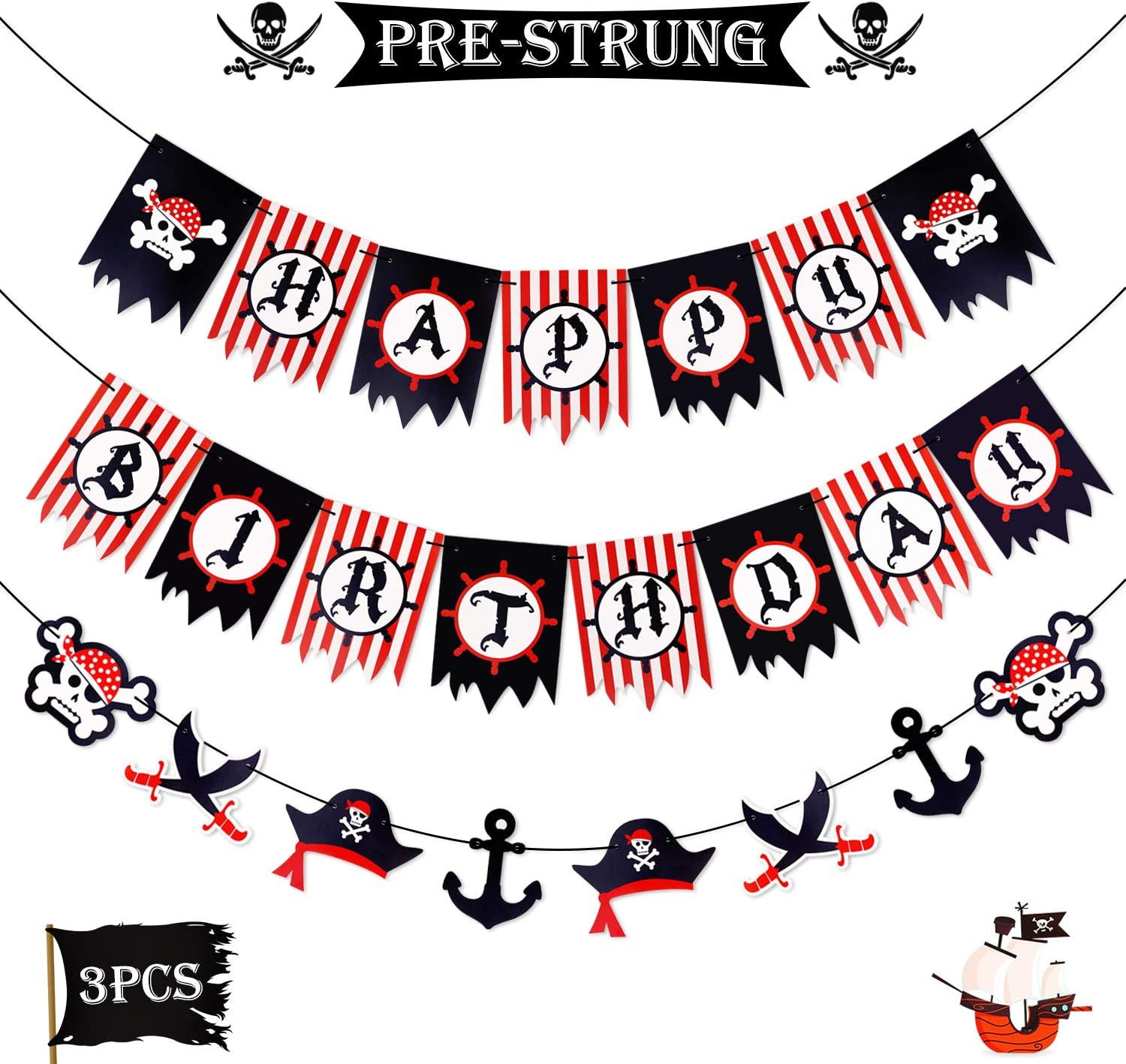 Pirate Happy Birthday Austin Mall Banner Party Sword OFFicial site Decoration Supplies Ca