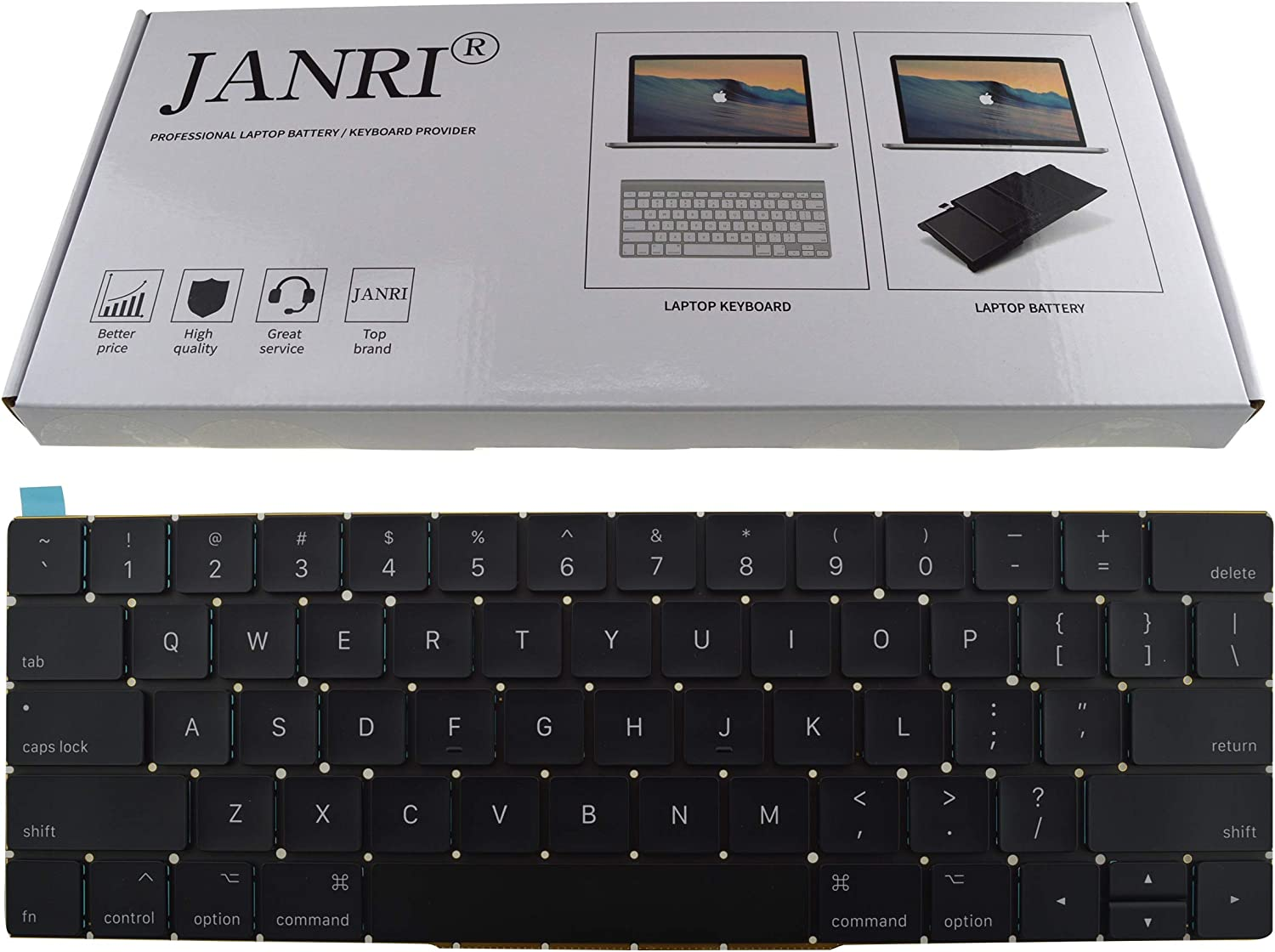 JANRI Replacement US Keyboard for MacBook Pro 13 inch A1708 Without touchpad bar MacBookPro14,1 MacBookPro13,1 A1708 Late 2016 mid 2017