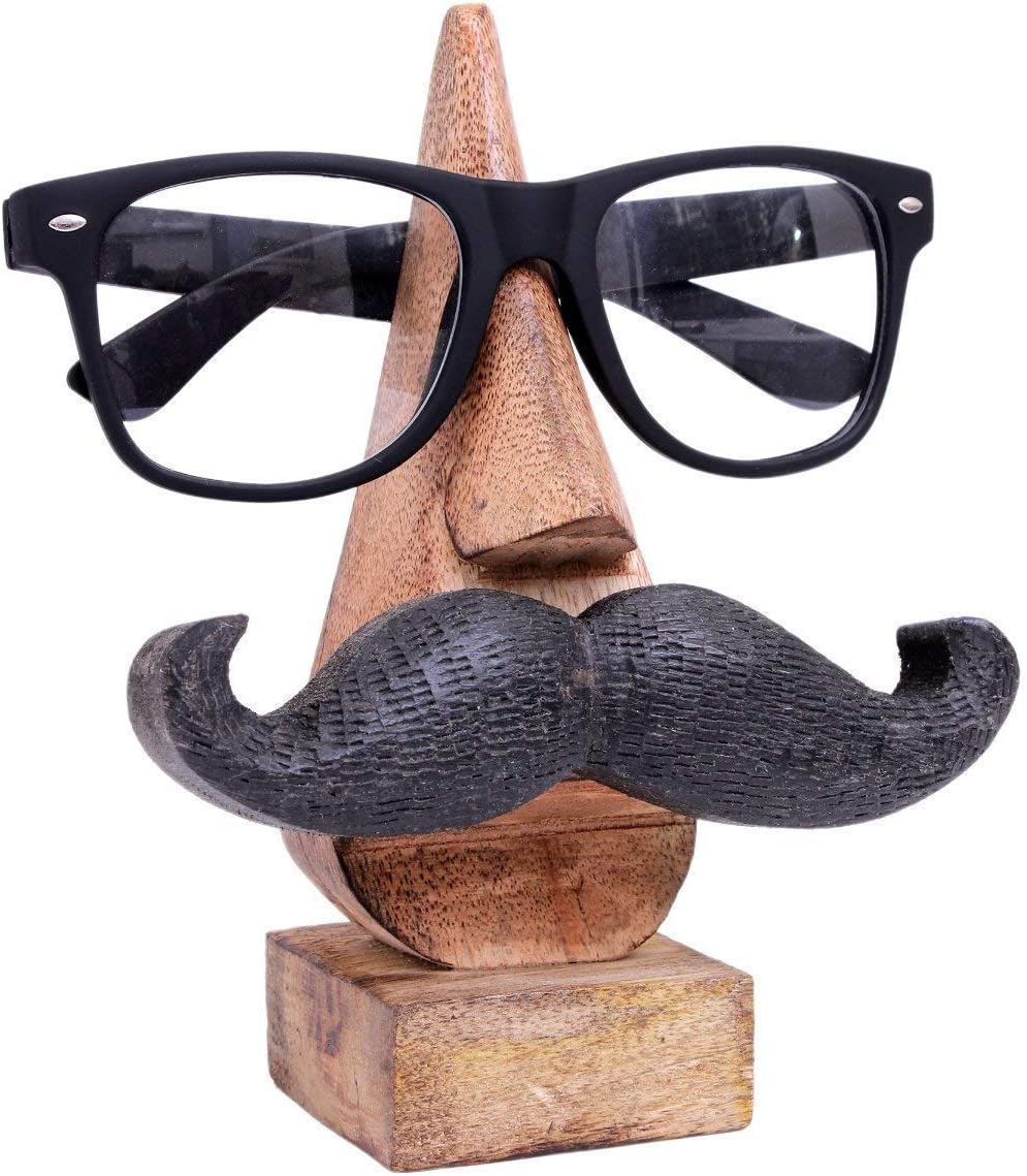Ajuny Soporte de Gafas de Madera Forma de Nariz Soporte de Gafas Tallada a Mano Bigote Mesa hogar decoración artículos de Regalo