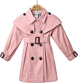 NOMSOCR Toddler Kids Baby Girl Spring Autumn Double-Breasted Trench Coat Fashion Wind Proof Jacket Cloths (2T, Pink)