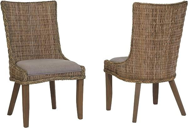 所罗门小屋编织餐椅带坐垫灰色水洗 2 件套